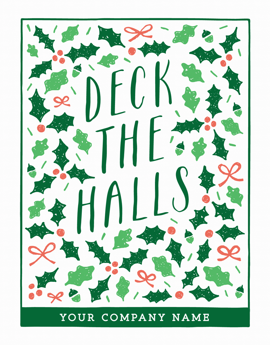 custom deck the halls card for businesses
