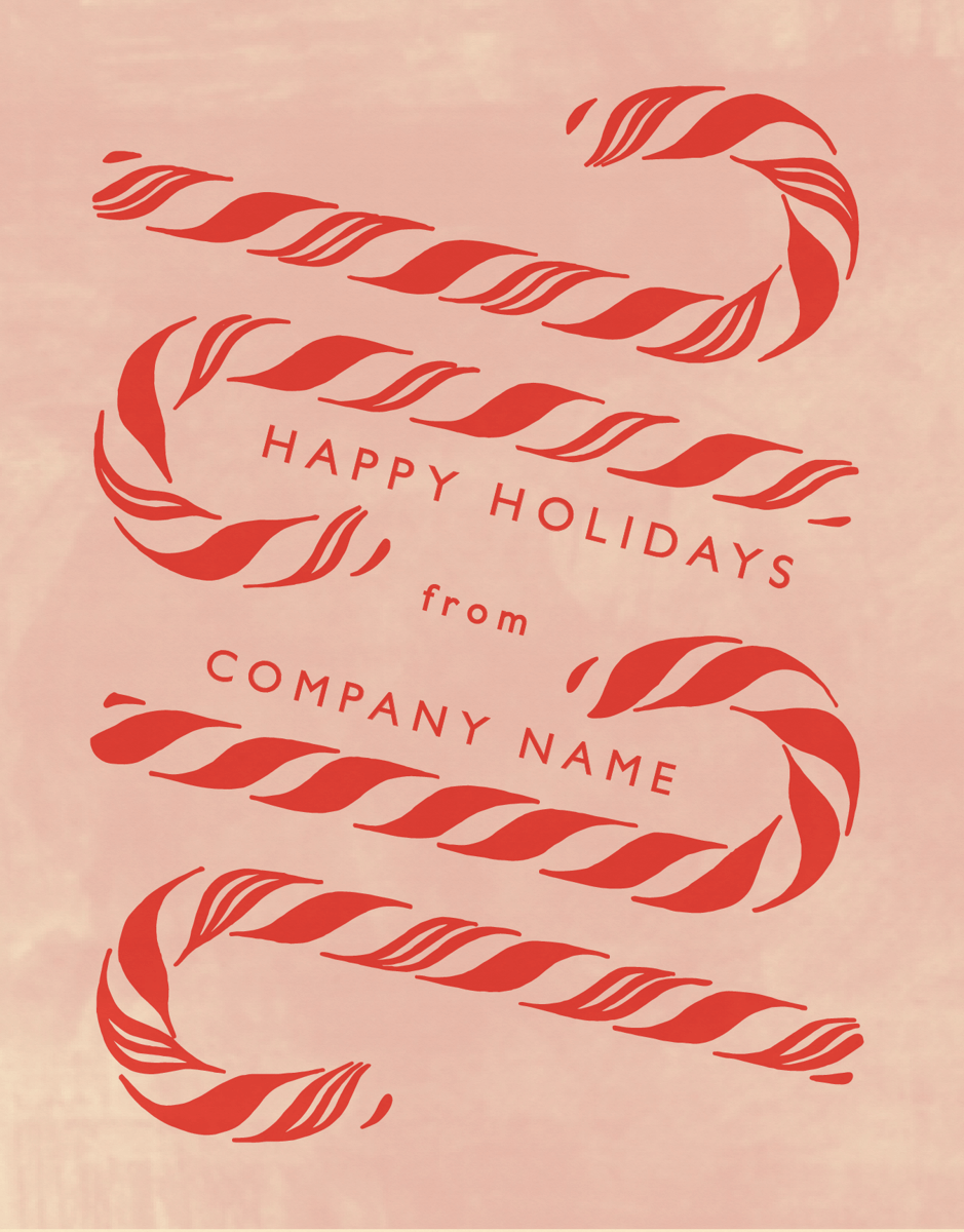 red company holiday card with candy canes