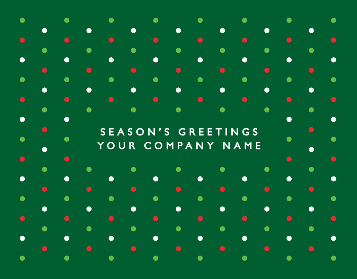red and green Polka Dots Business Holiday Card