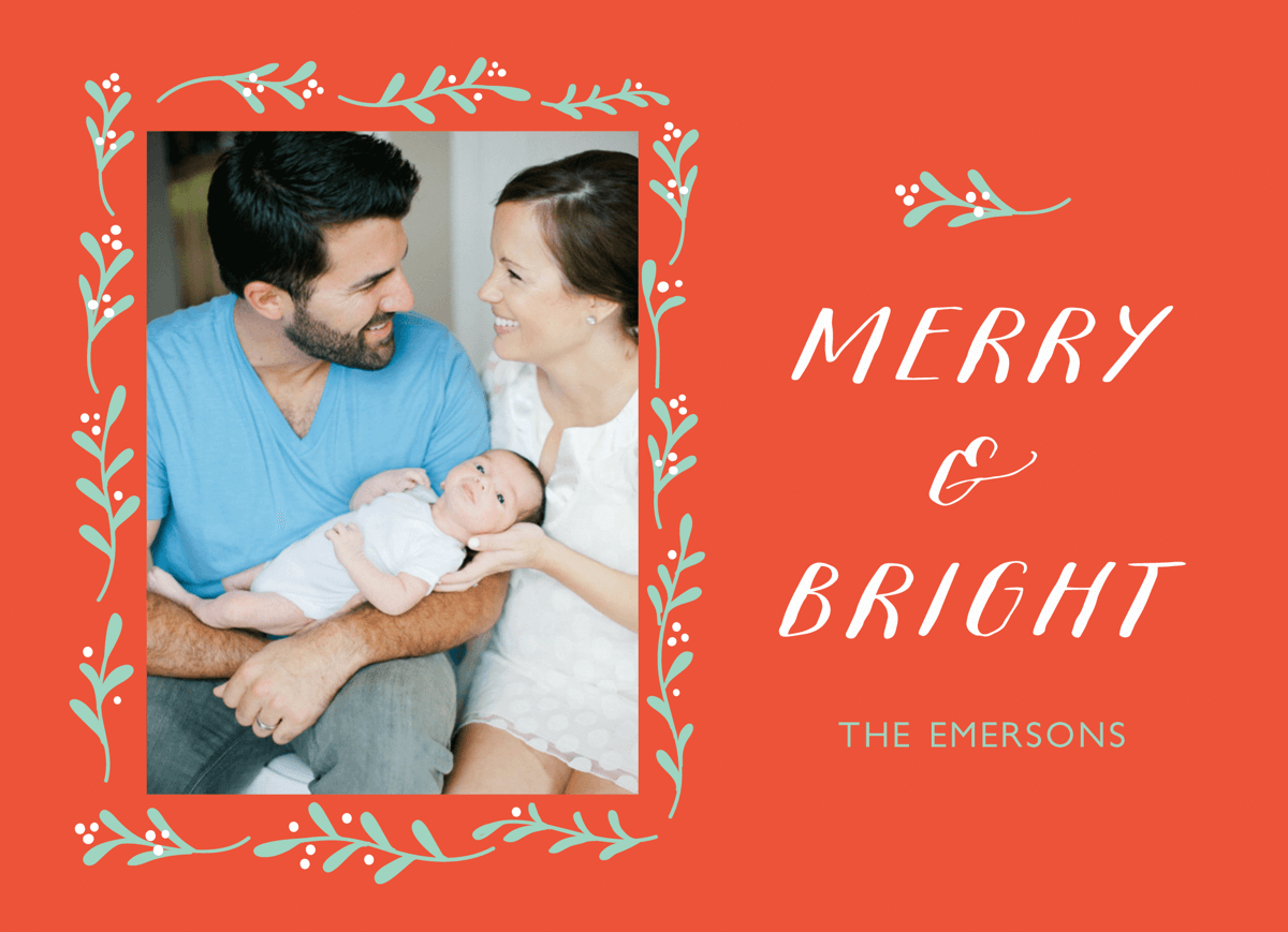 Merry and Bright Fern Holiday Photo Card