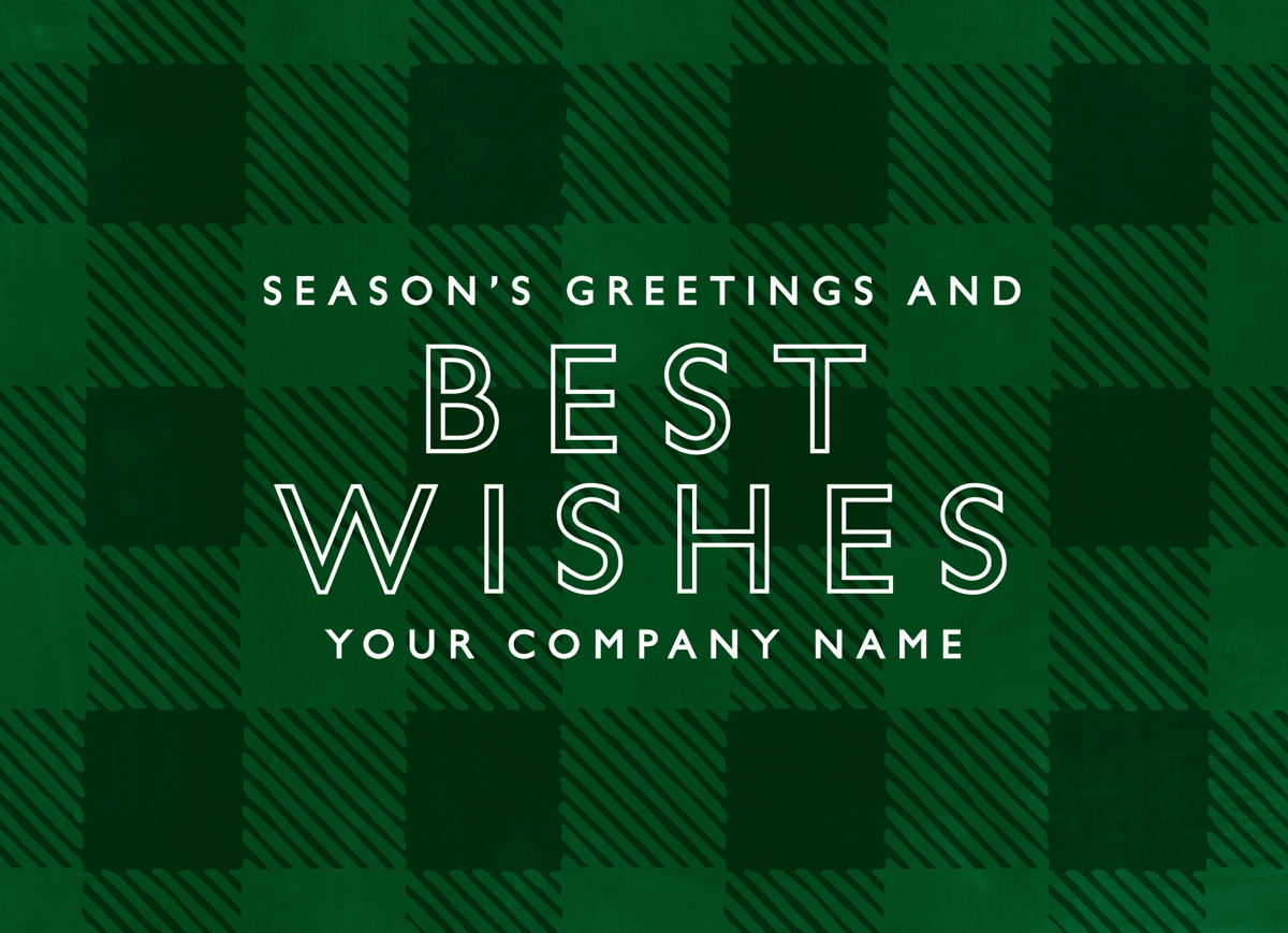 Green Plaid Business Holiday Card