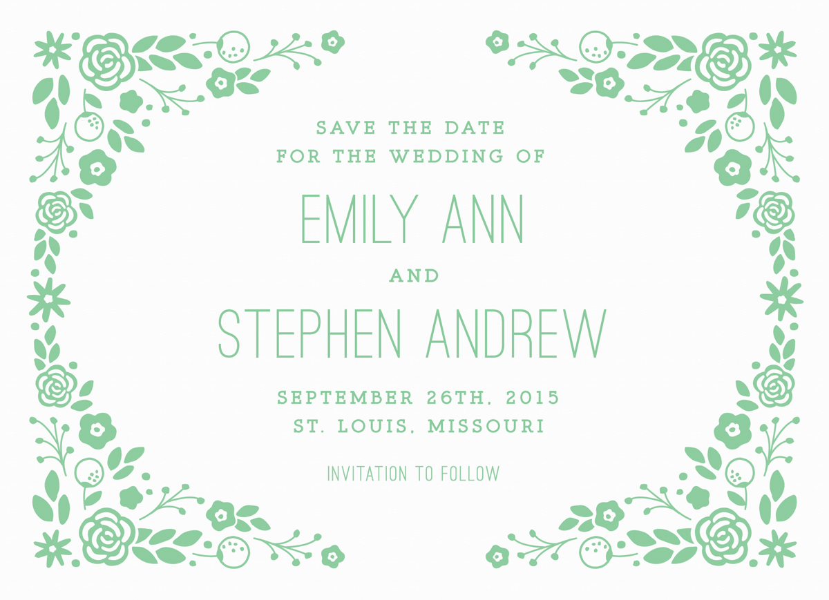 Light Green Florals Save the Date