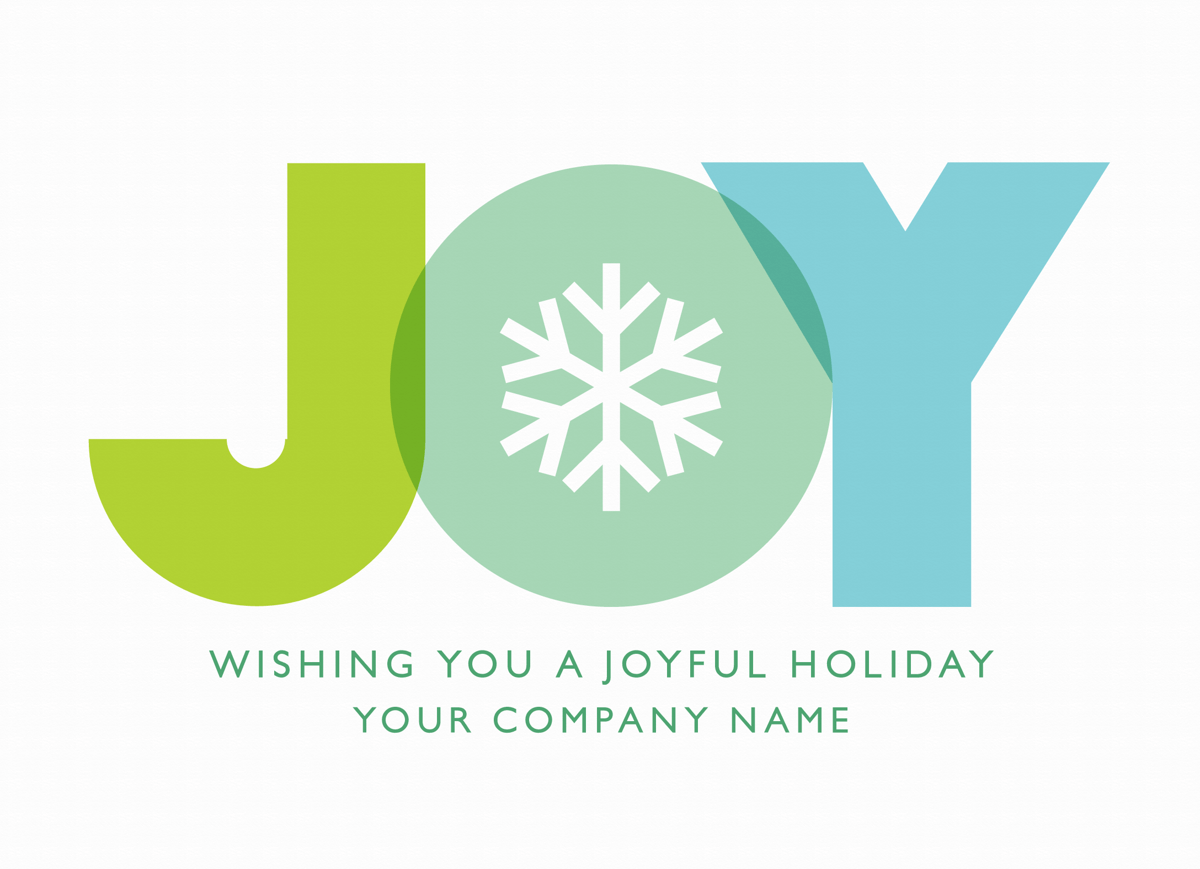 Blue Joy Snowflake Holiday Card