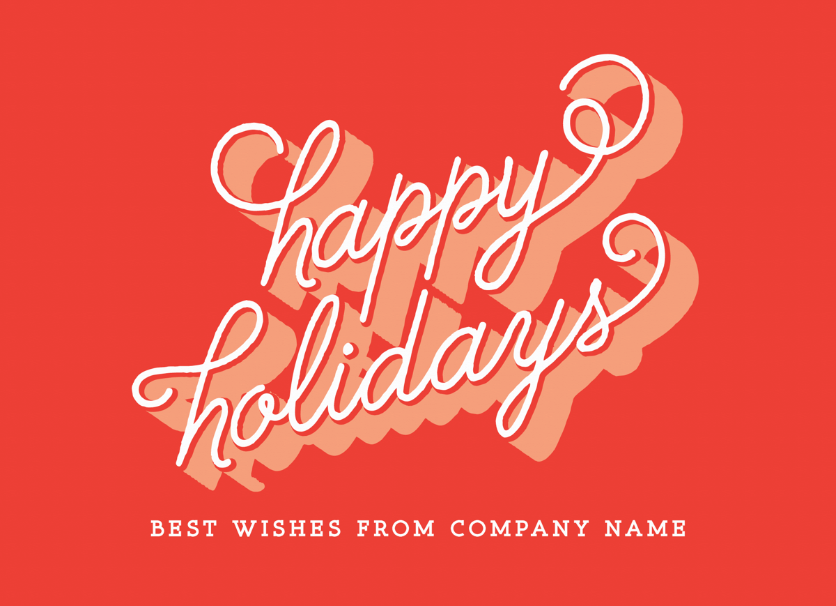 red retro happy holidays business greeting