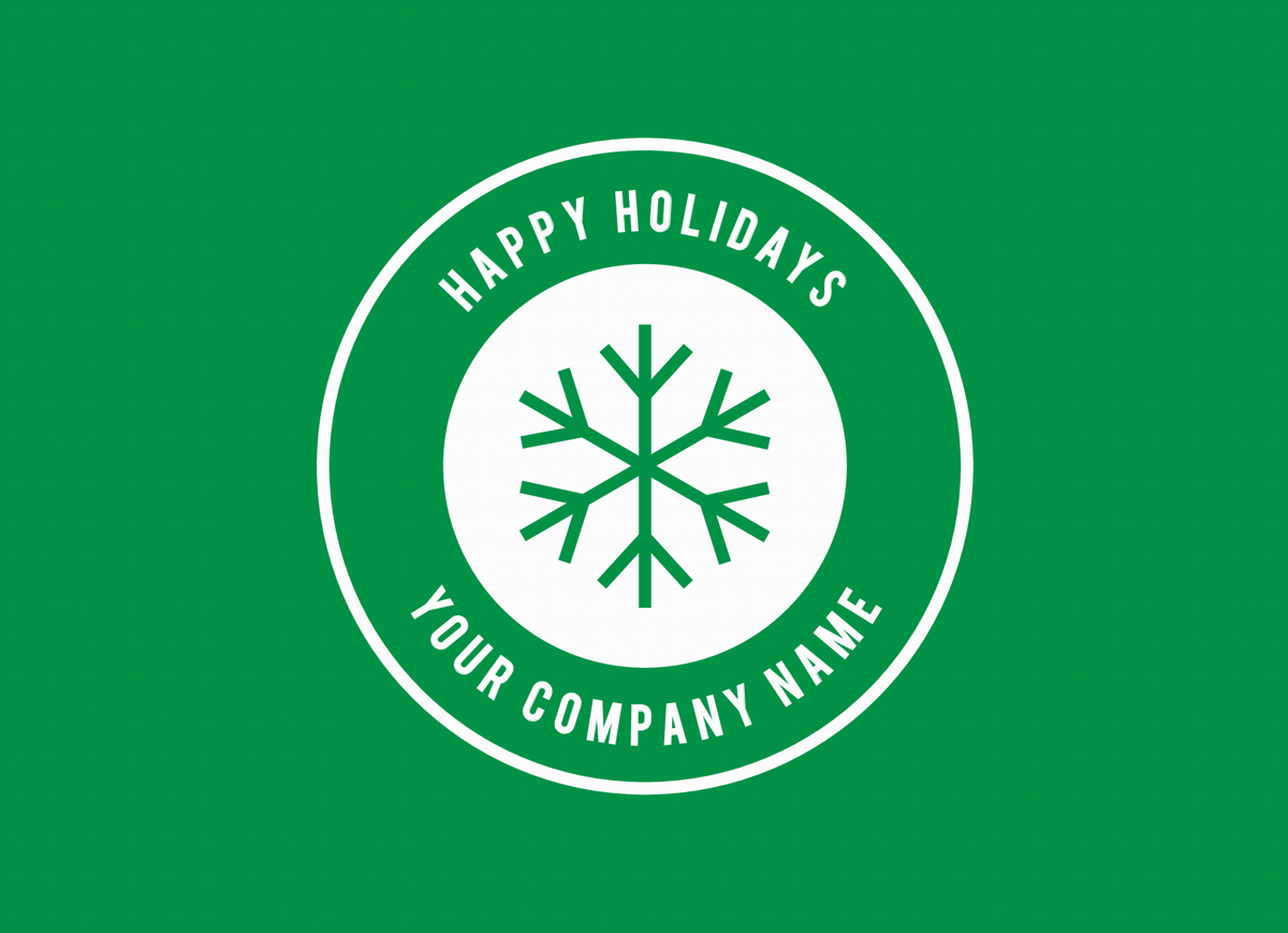 Green Snowflake Business Holiday Card