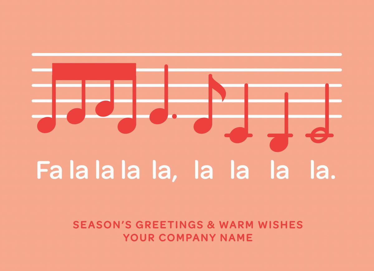 Fa La La Music Notes Custom Card
