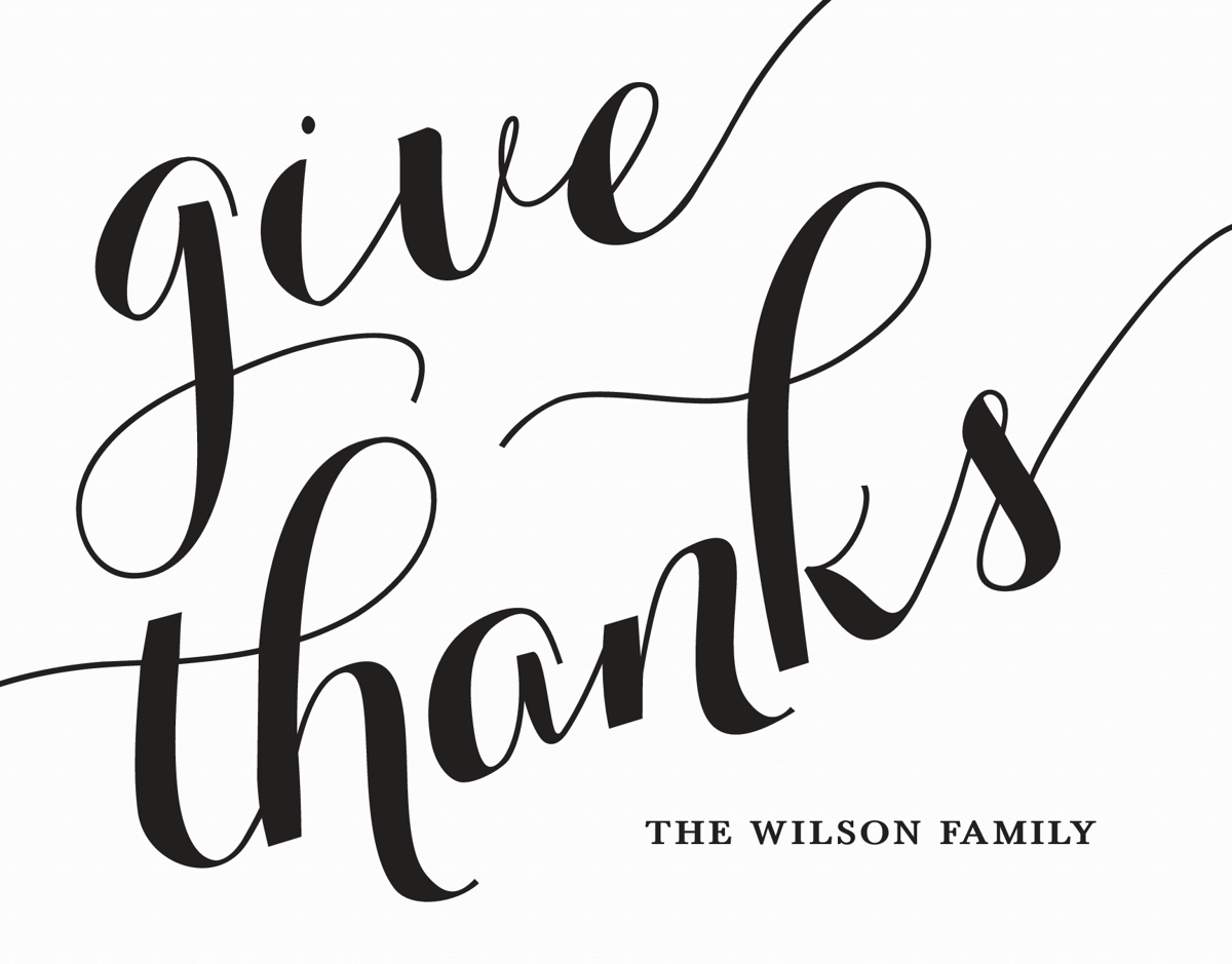 Custom Script THanksgiving Card