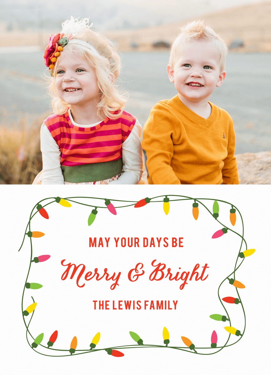 colorful merry and bright christmas lights holiday photo card