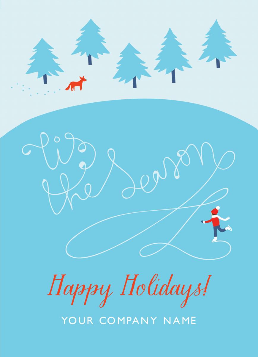 Ice Skating Business Holiday Card