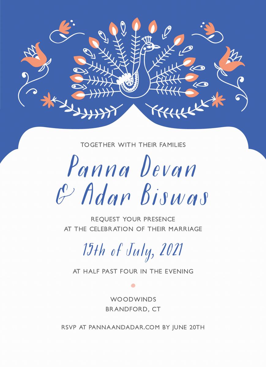 Blue Ornamental Custom Wedding Invite