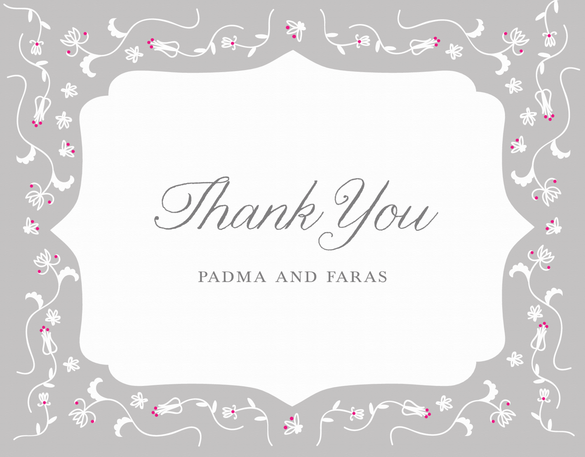 Grey Pattern Custom Thank You Card