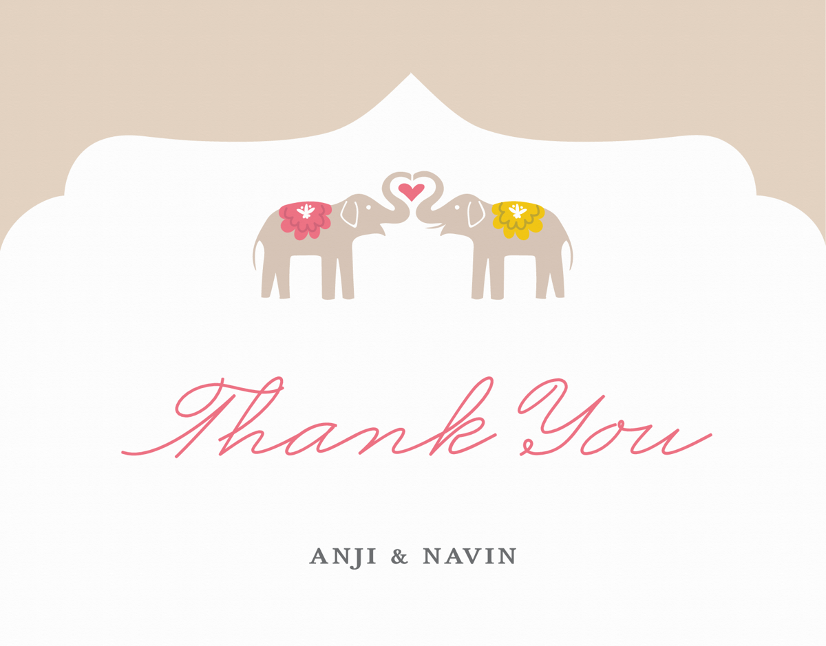 Elephant Love Custom Thank You Card