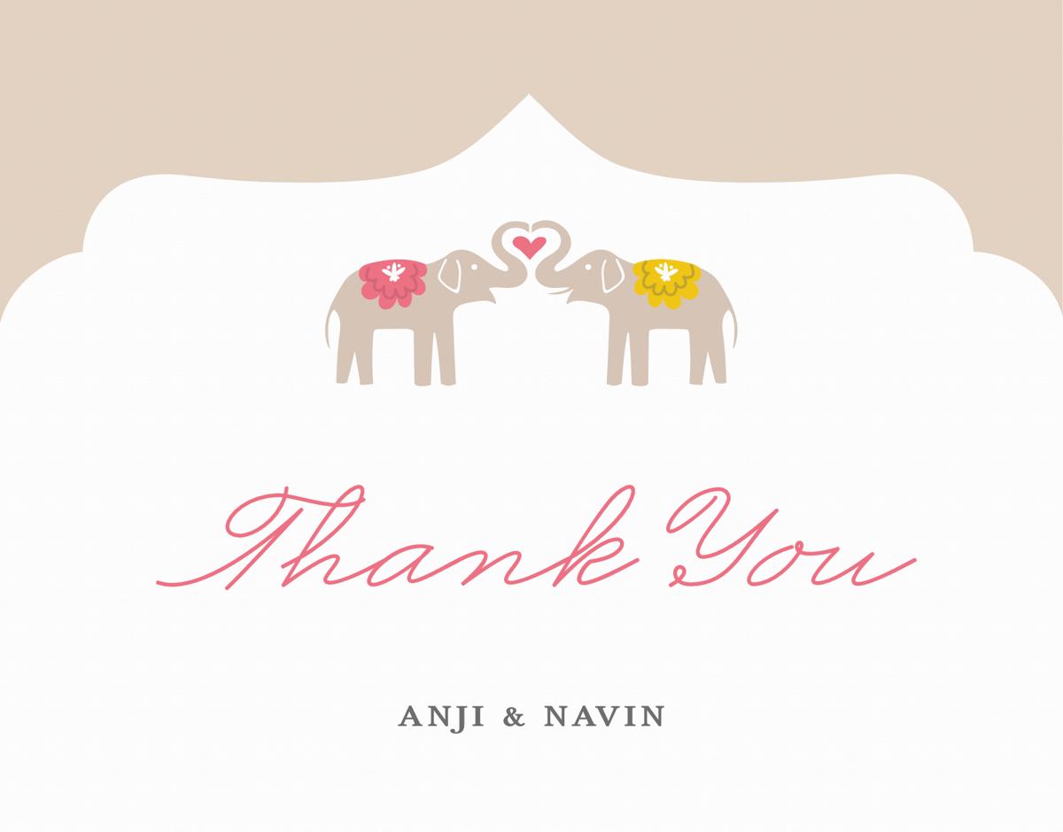 Elephant Love Custom Thank You Card