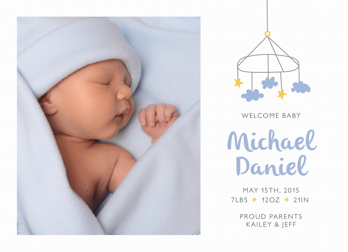 Cloud Mobile Birth Announcement
