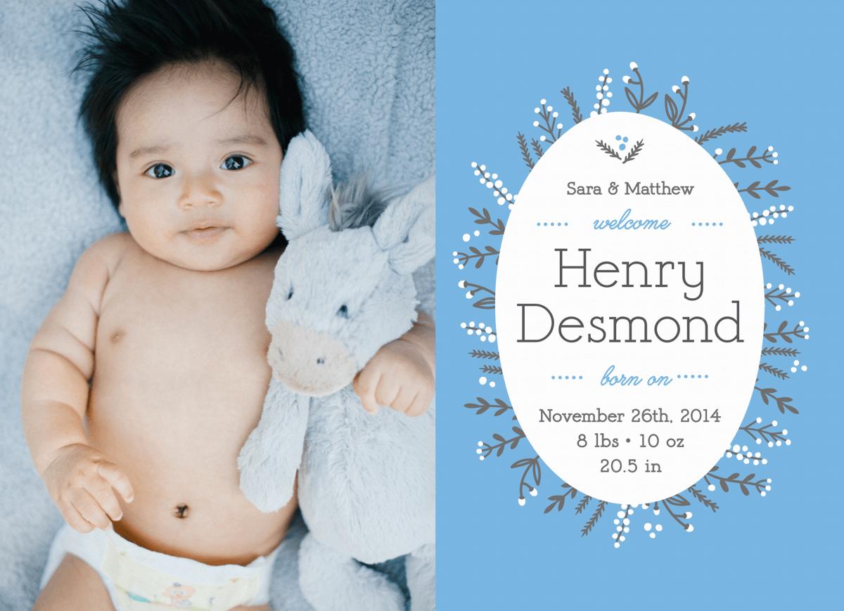 Delightful Wreath Blue Birth Announcement