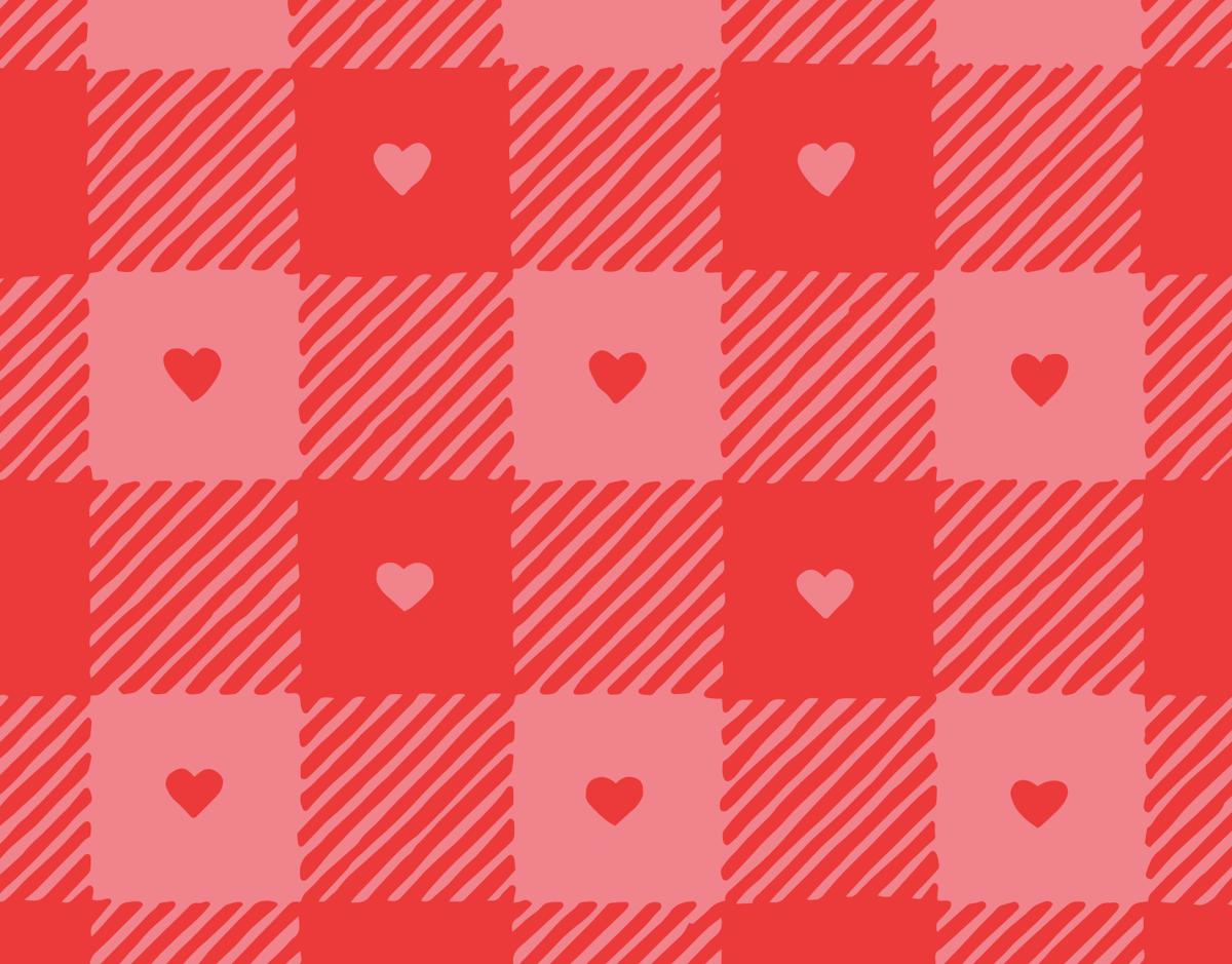 Gingham Heart Print Valentine Card