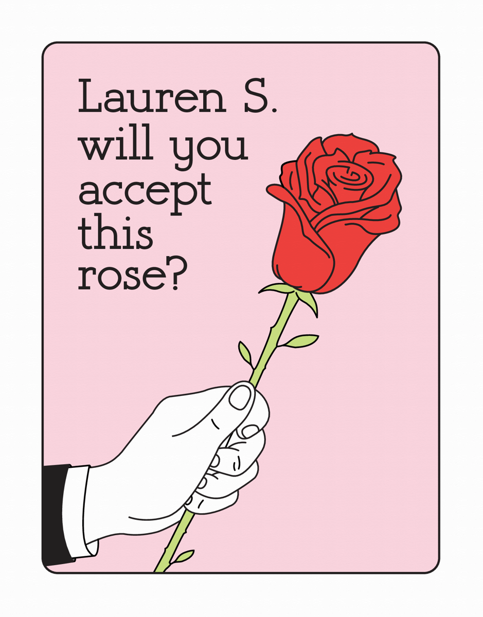 Custom Bachelor Rose Valentine's Card