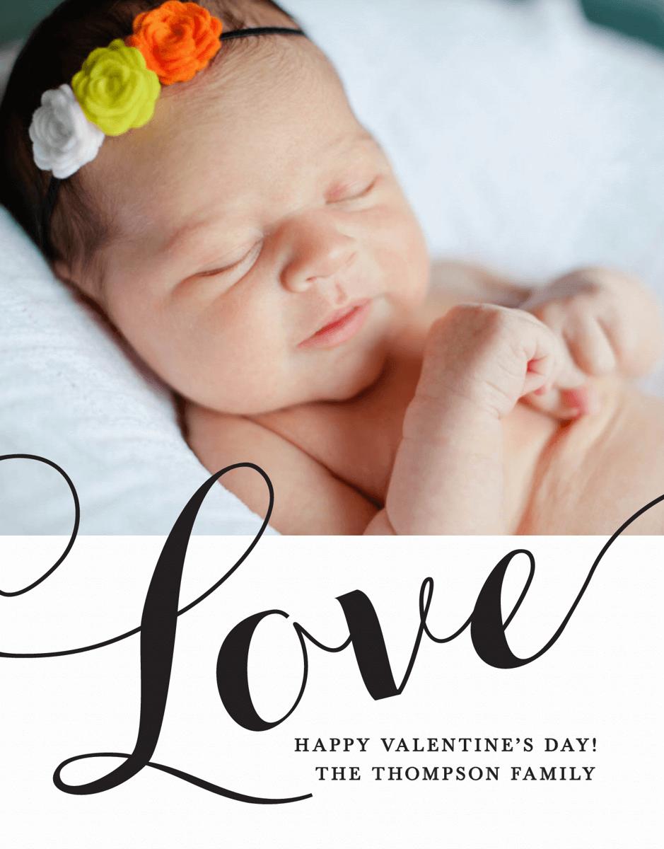 Love Script Valentine Photo Card
