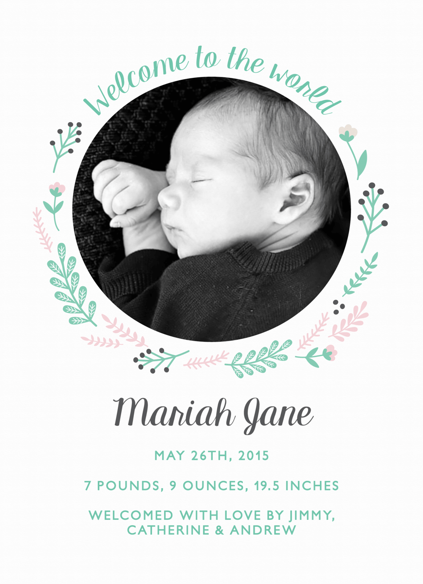 Winter Wreath Birth Announcment