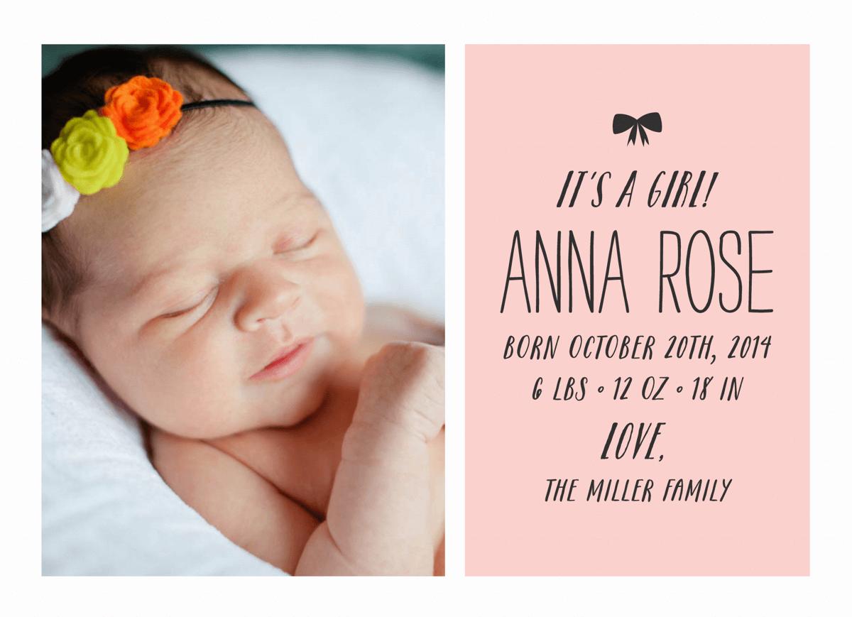 Bow Birth Announcement