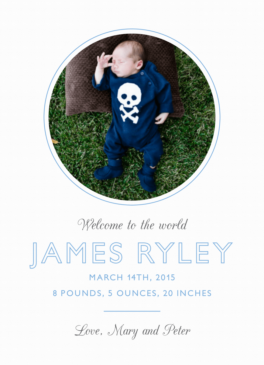 Simple Blue Circle Birth Announcement