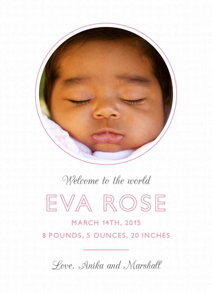 Minimal Pink Birth Announcement
