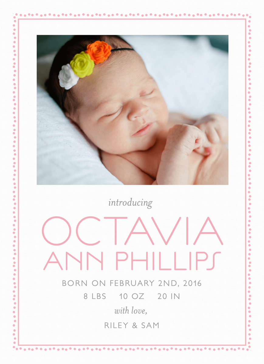 Pink Dot Border Baby Announcement