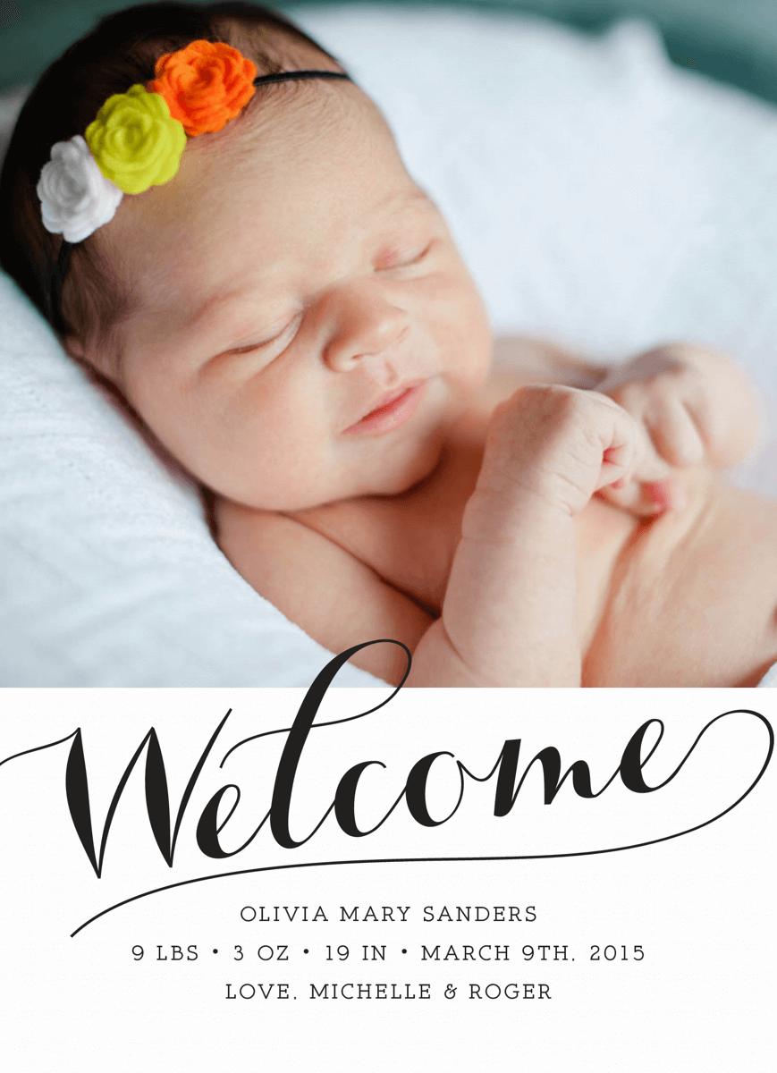Welcome Script Birth Announcement