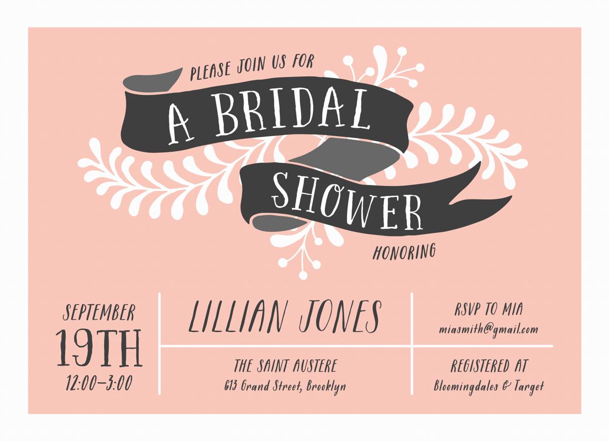 Floral Banner Bridal Shower Invite