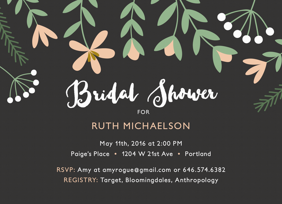Pink Florals Bridal Shower Invite