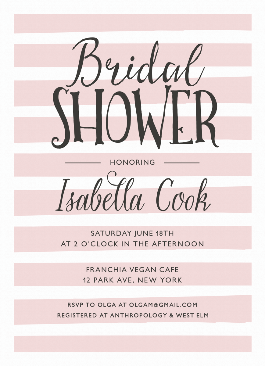 Simple Stripes Bridal Shower Invites