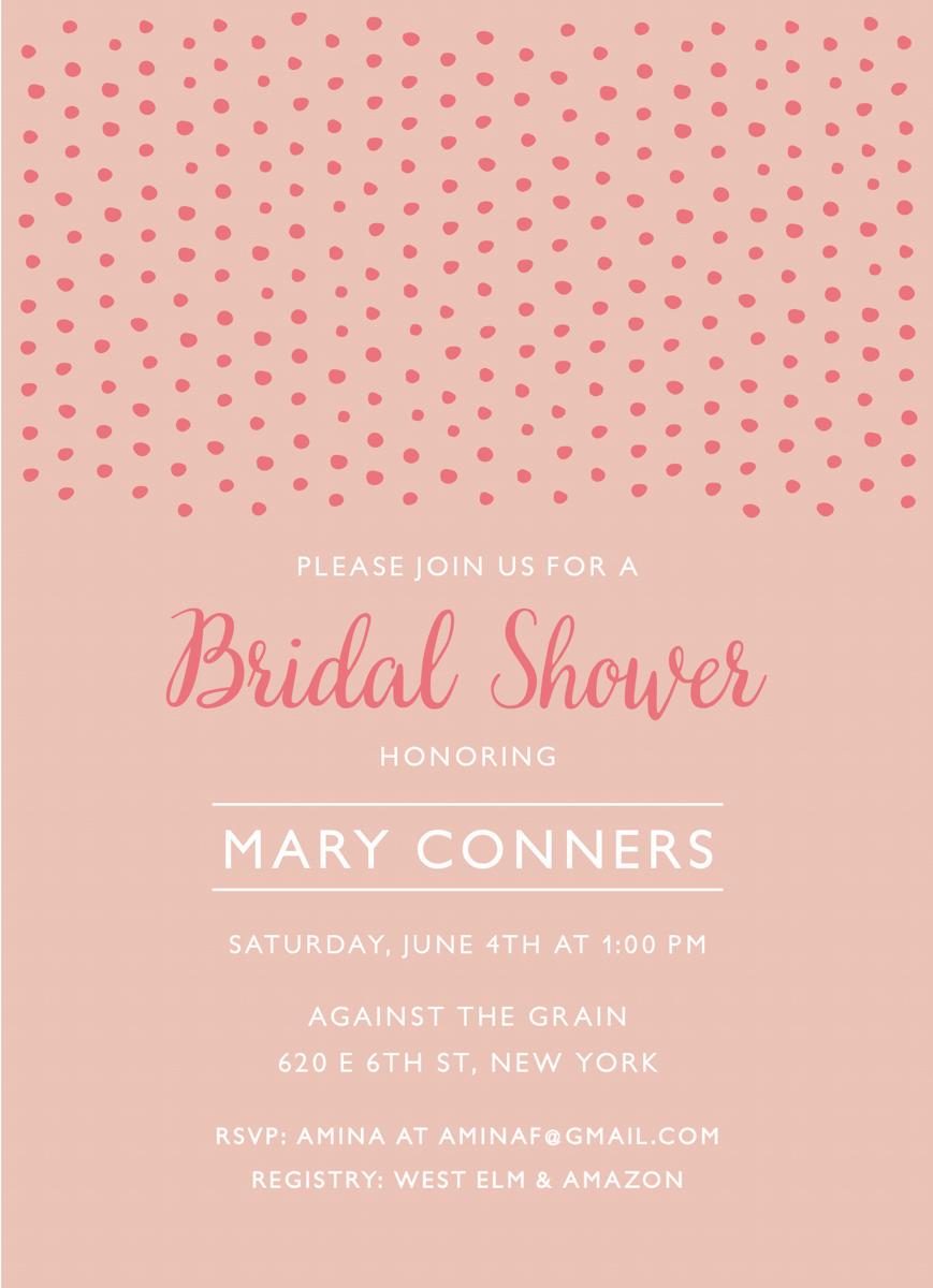 Pink Dot Bridal Shower Invite