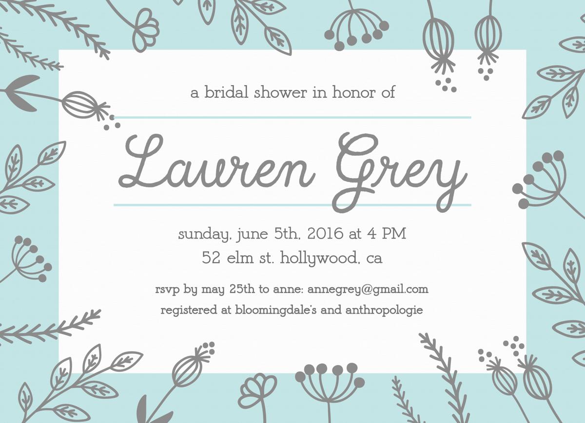 Mint Grey Bridal Shower Invite
