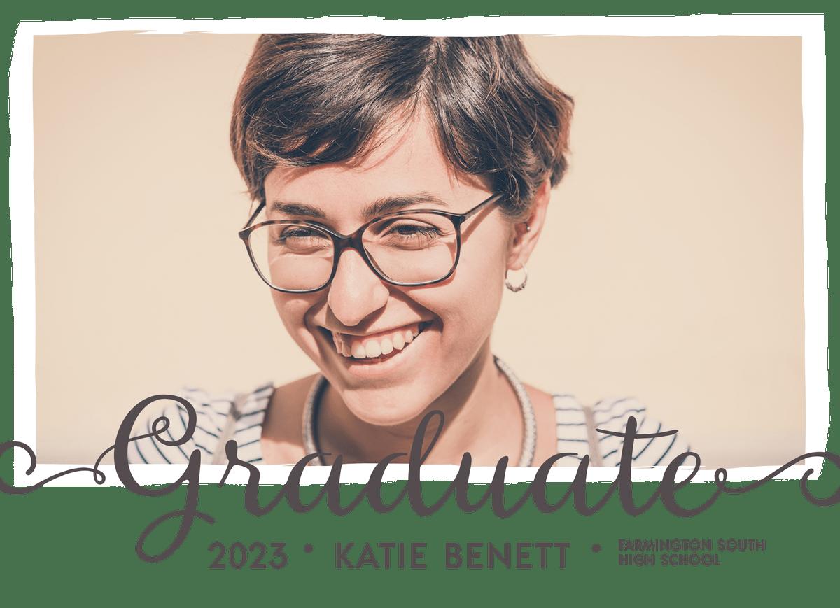 Grey Lettering Graduation Announcement