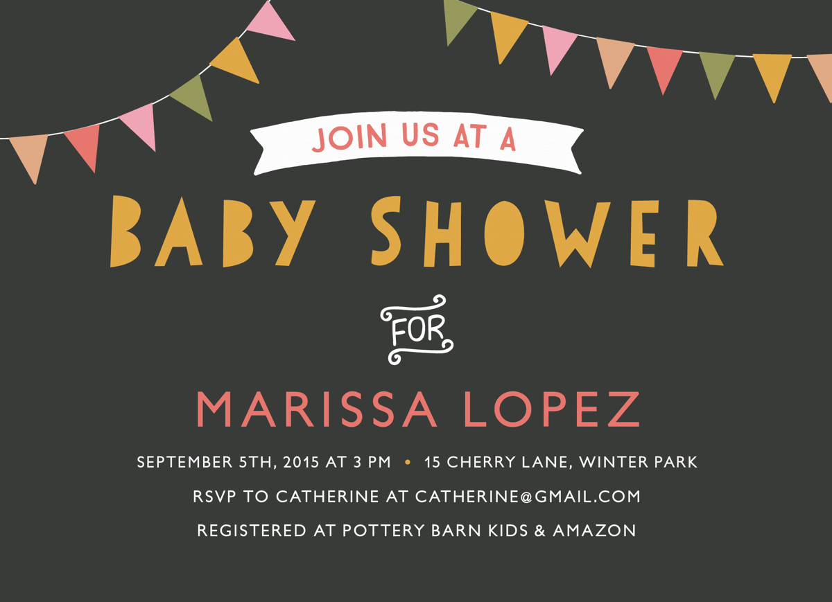 Baby Shower Invite with Multicolor Flags