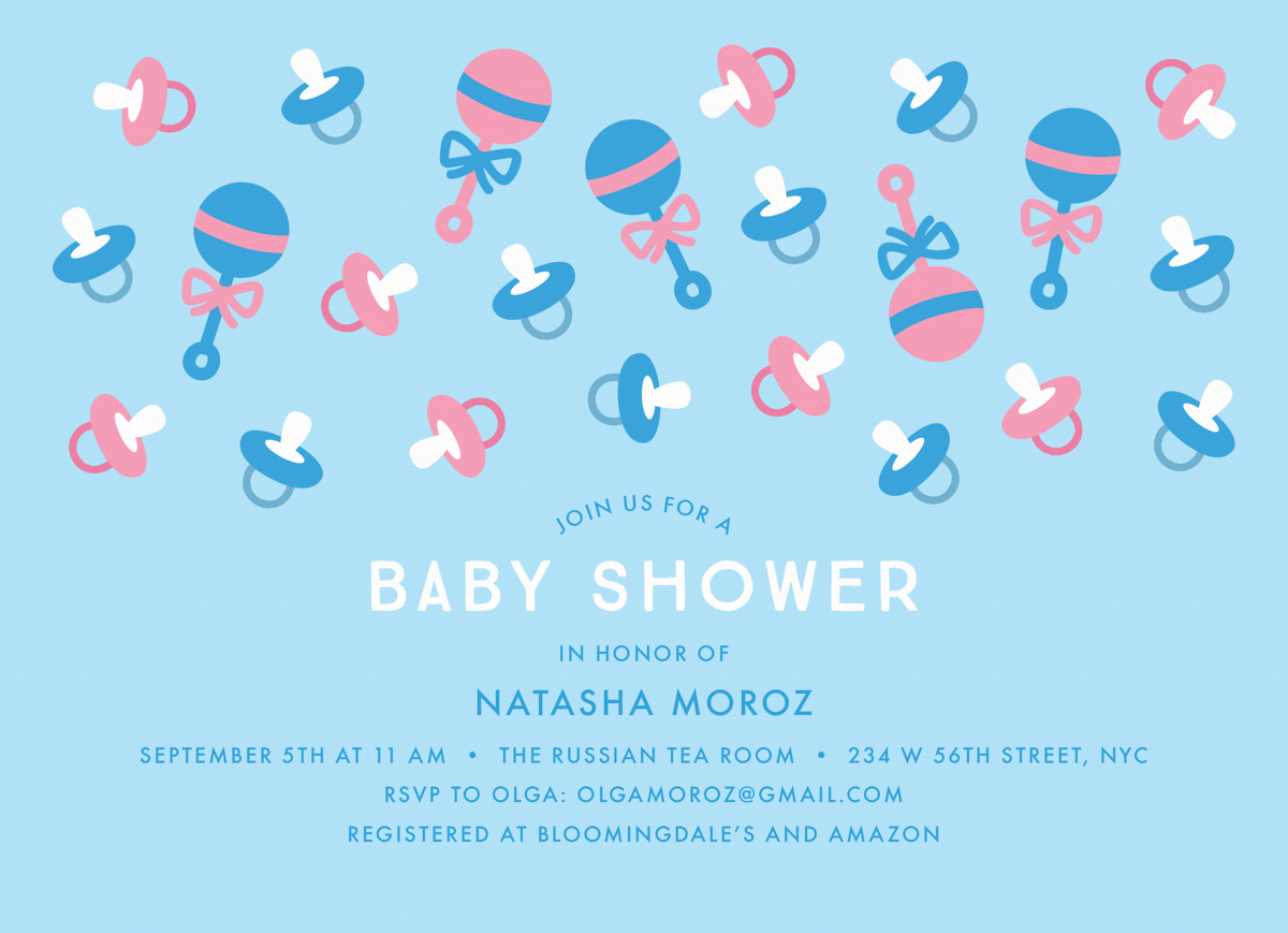 Pacifier Pattern Baby Shower Invitation