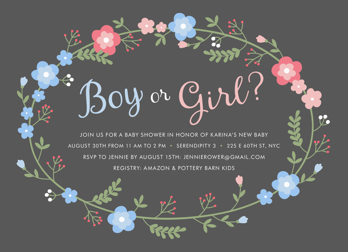Boy or Girl Wreath Baby Shower Invite