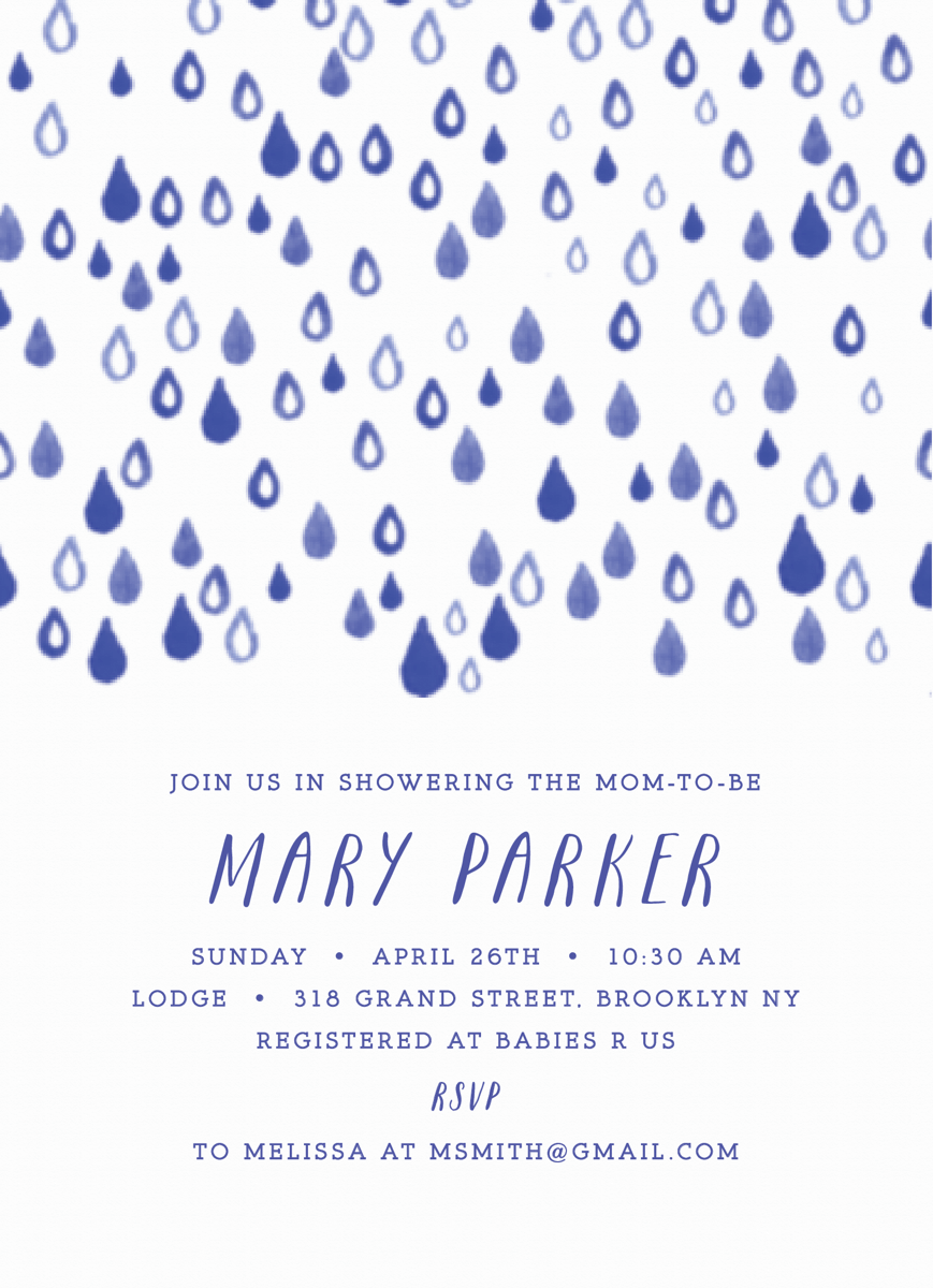 Rain Drops Baby Shower Invite