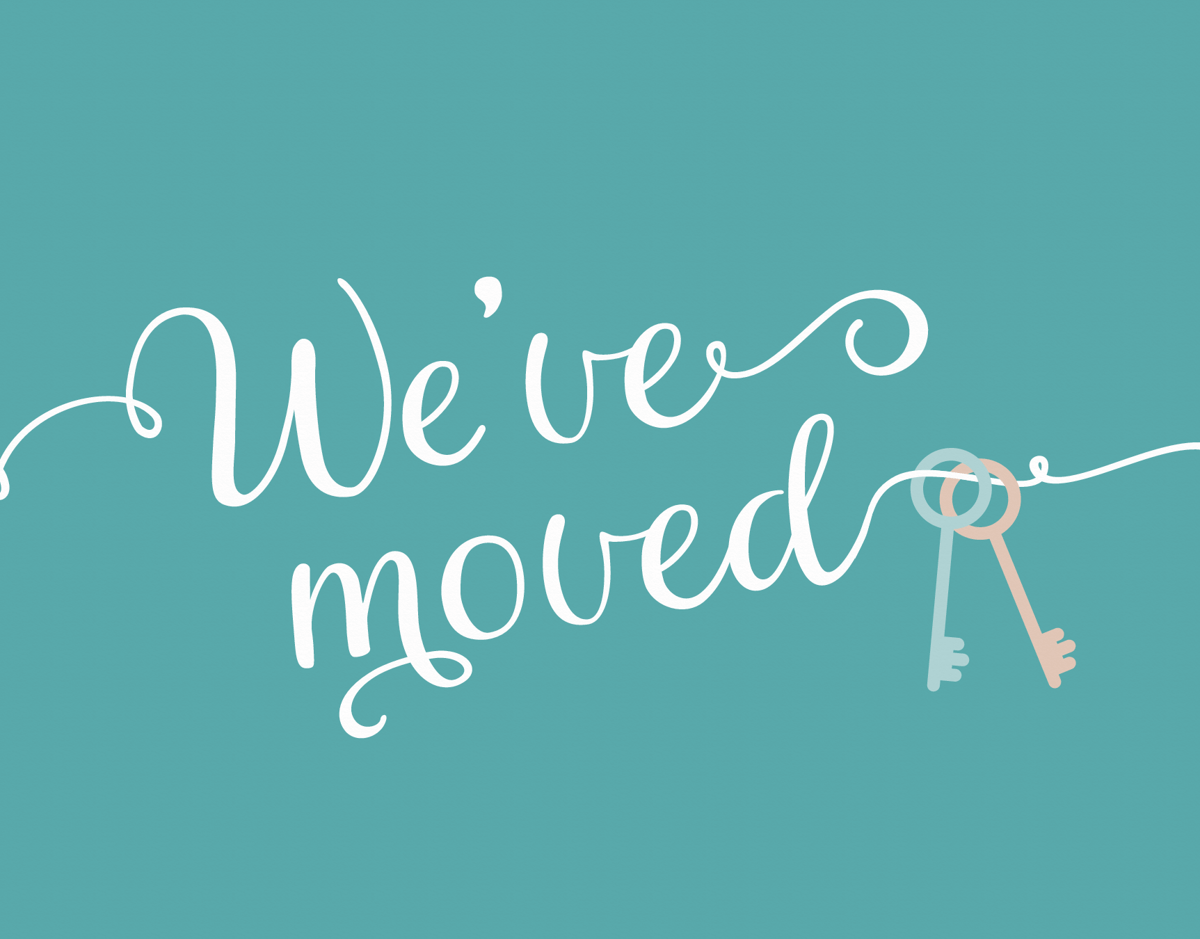 Cursive We Are Moving Card