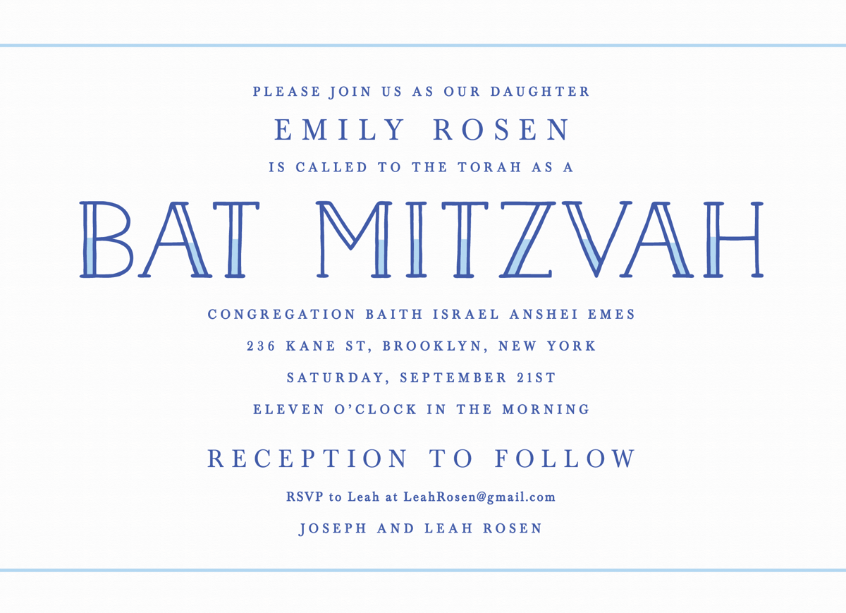 Blue Lettering Bat Mitzvah Invite