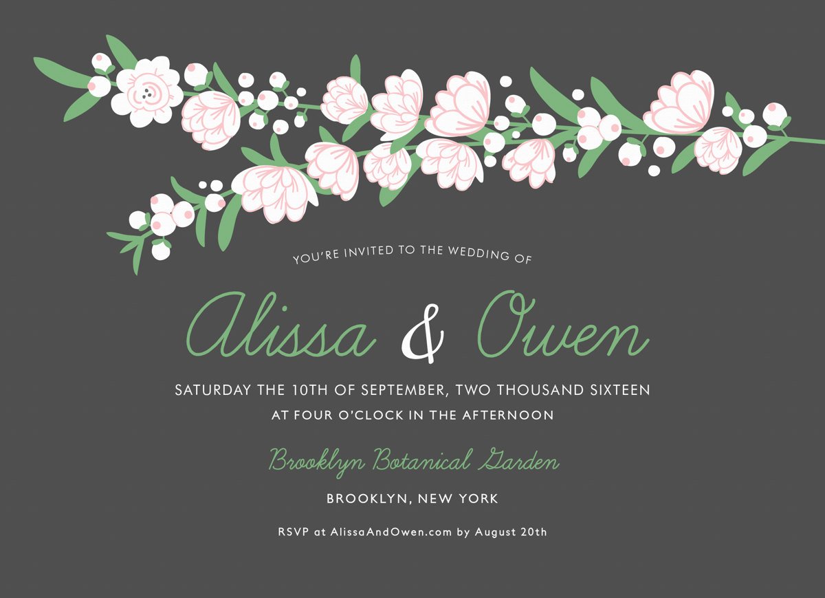 Pink and White Floral Wedding Invitation