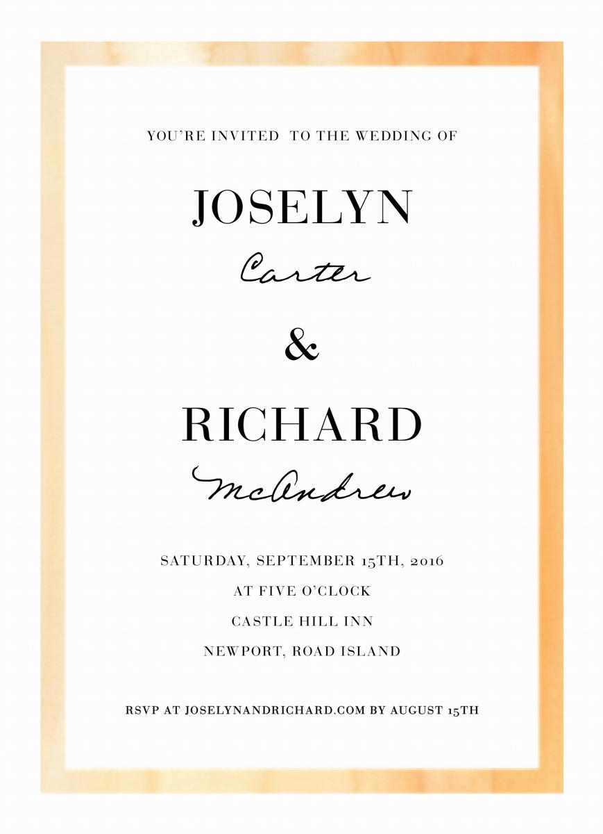 Watercolor border wedding invite