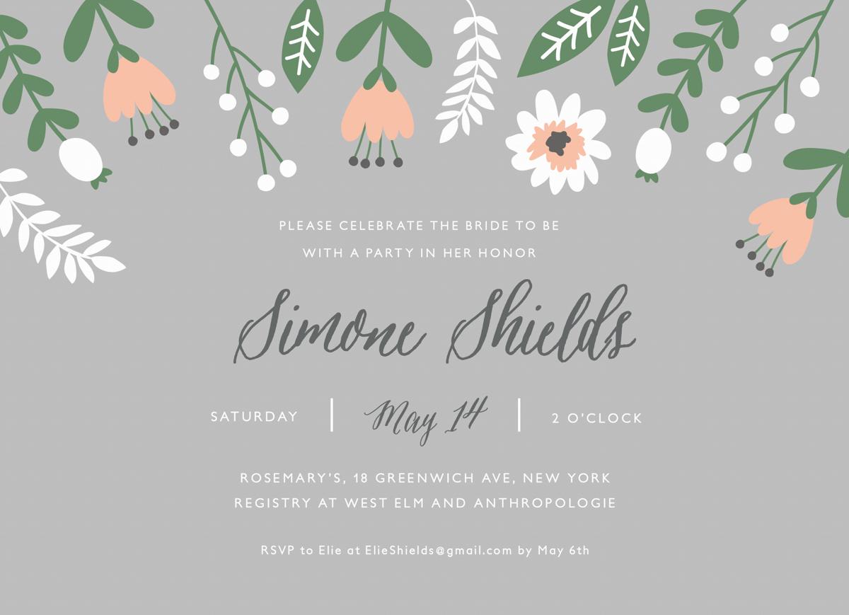 Floral Gray Bridal Shower Invite