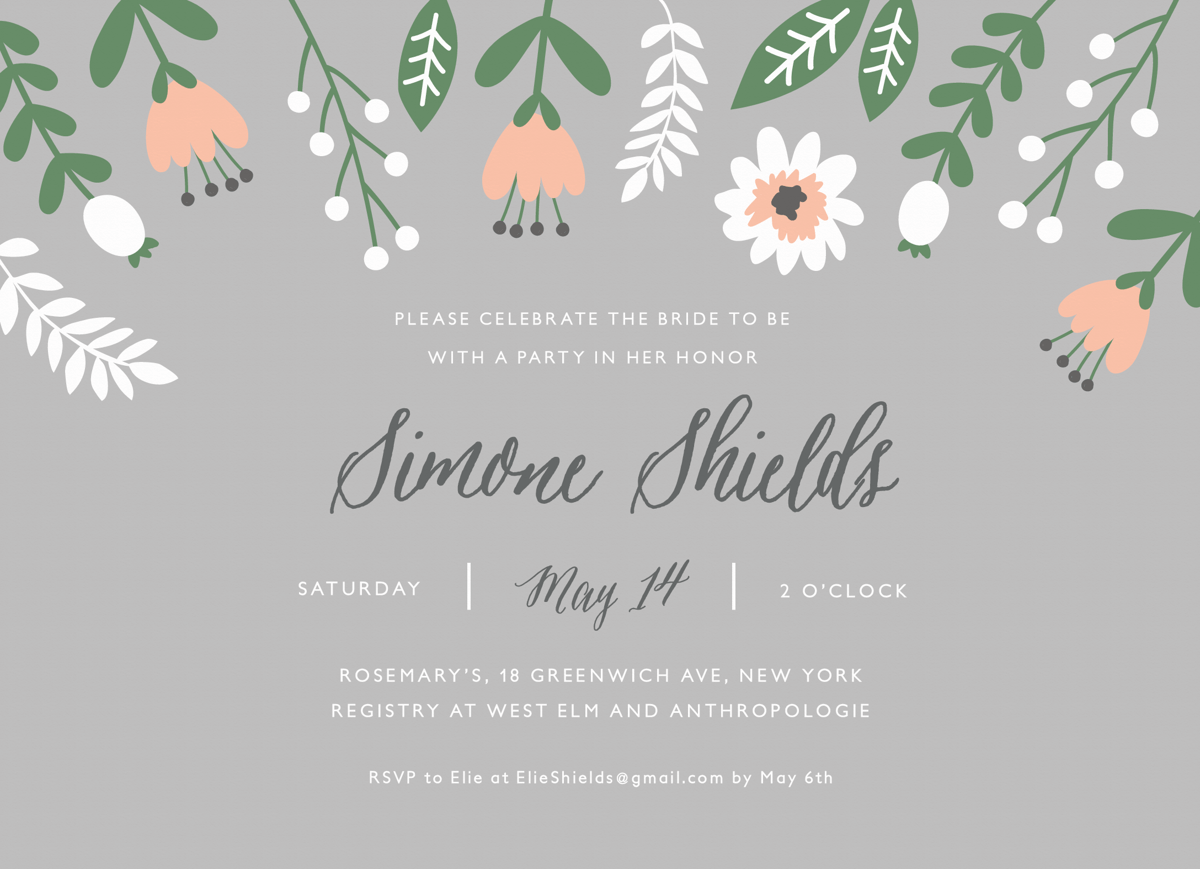 Floral Gray Bridal Shower Invite