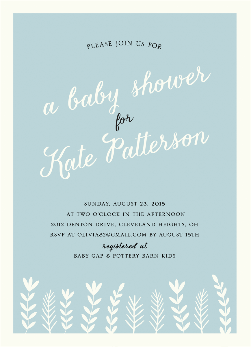 Charming Branches Baby Shower Invite