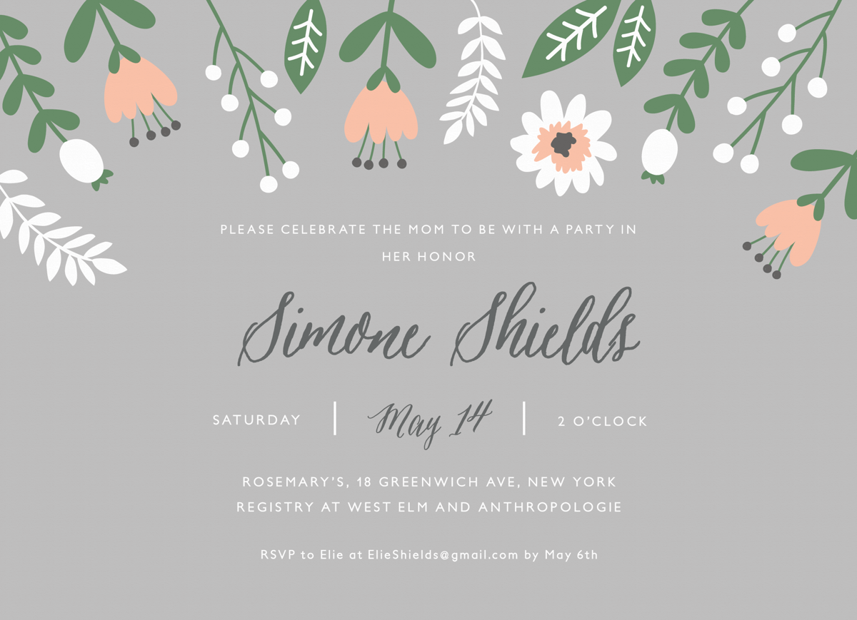 Floral Gray Baby Shower Invite