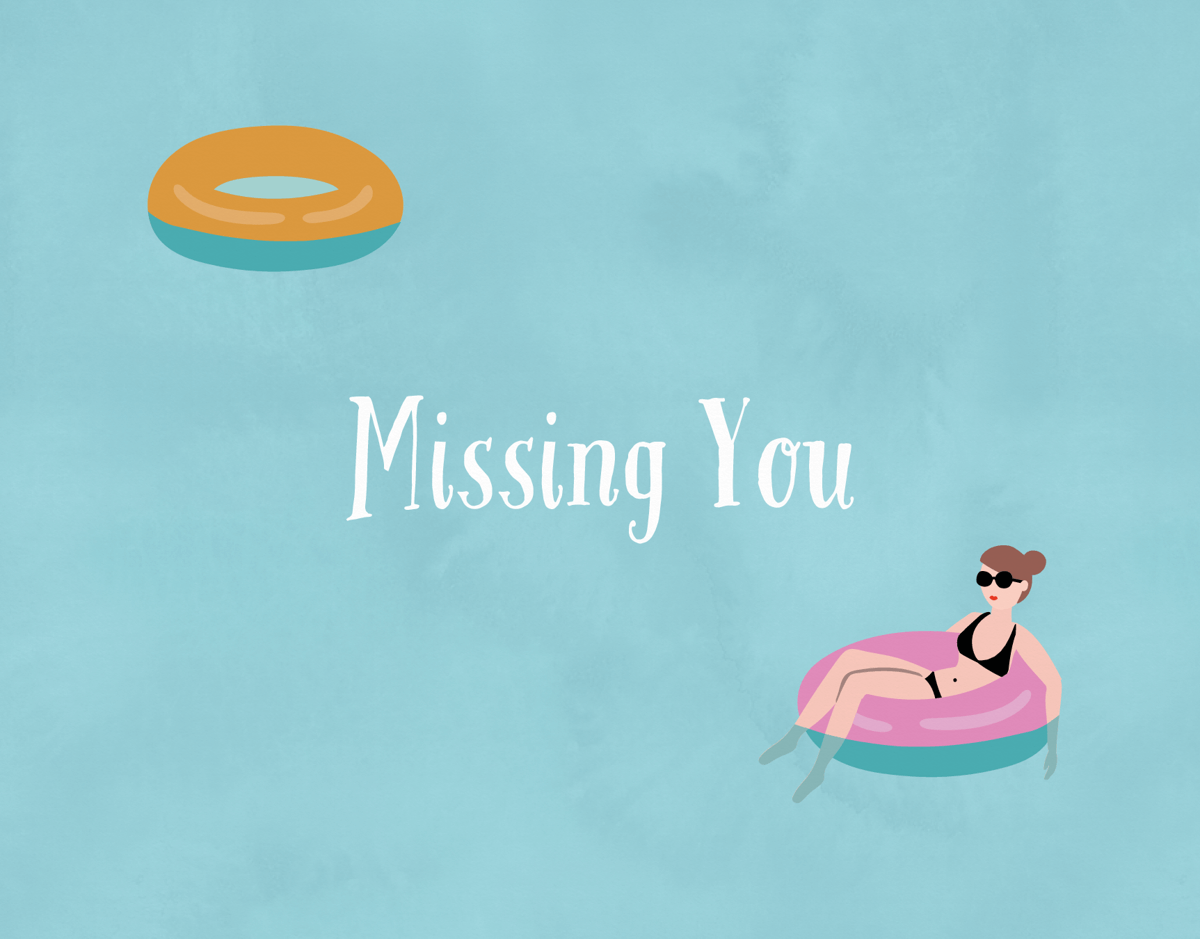 Swimming Pool Float I Miss You Card