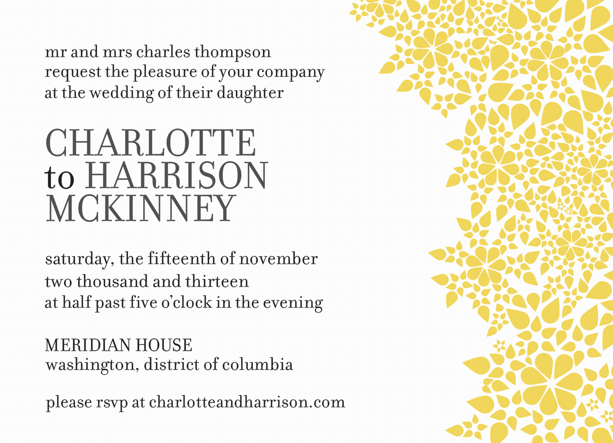 Yellow Sun drops Wedding Invite