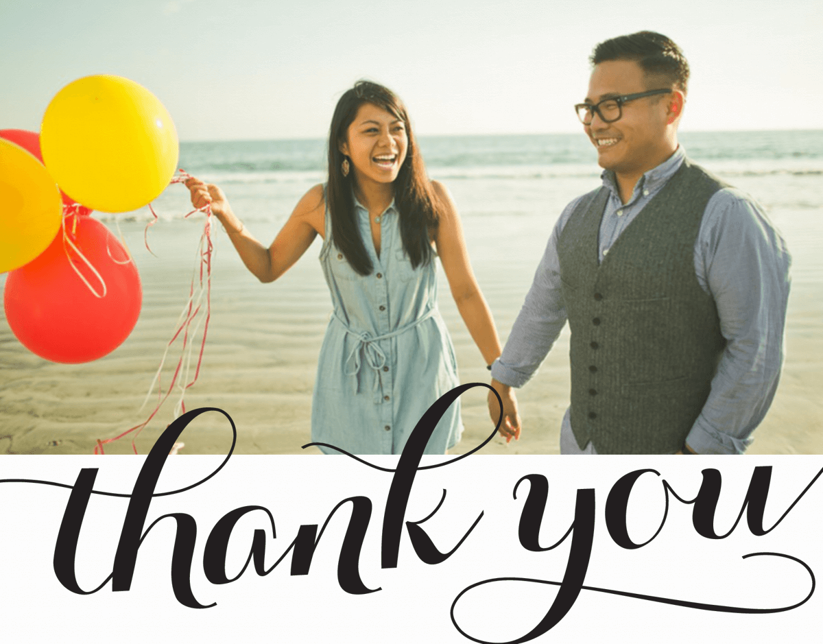 Simple Script Custom Photo Thank You Card