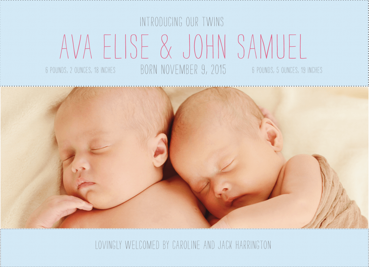 Thin Type Custom Photo Twin Birth Announcement